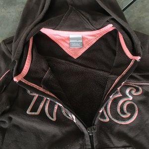 Nike Tops - Women's Nike Brown and Peach zip-up Hoodie Size M